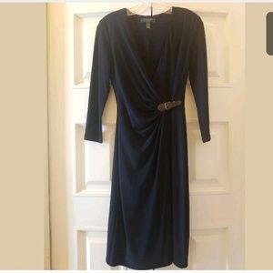 Ralph Lauren Wrap Dress Navy W/Brown Buckle Sz 2